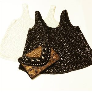 Two Sequin Tank Tops One Cream Color and One Black